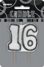 16th Birthday Black & Silver Glitter Cake Candle